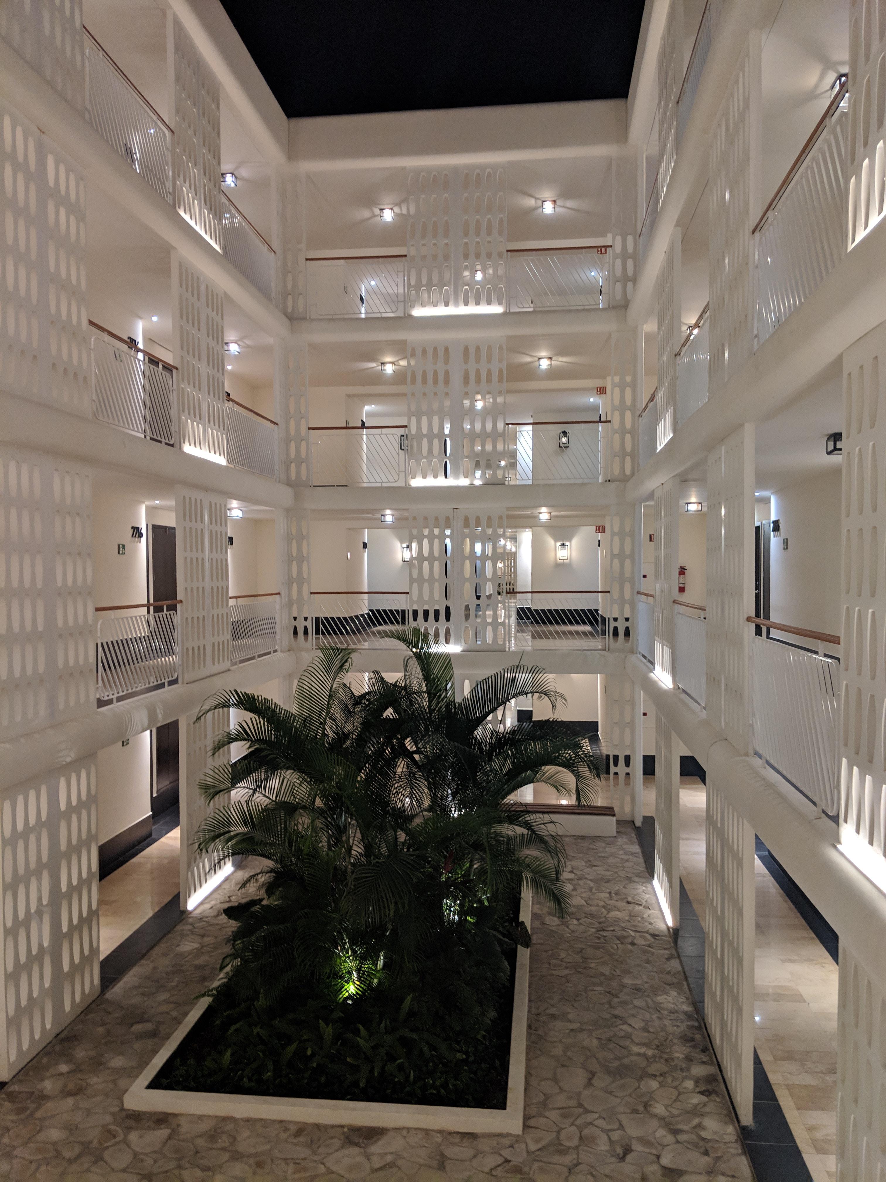 Chic white hotel design at Ocean Riviera Paradise All-Inclusive Resort