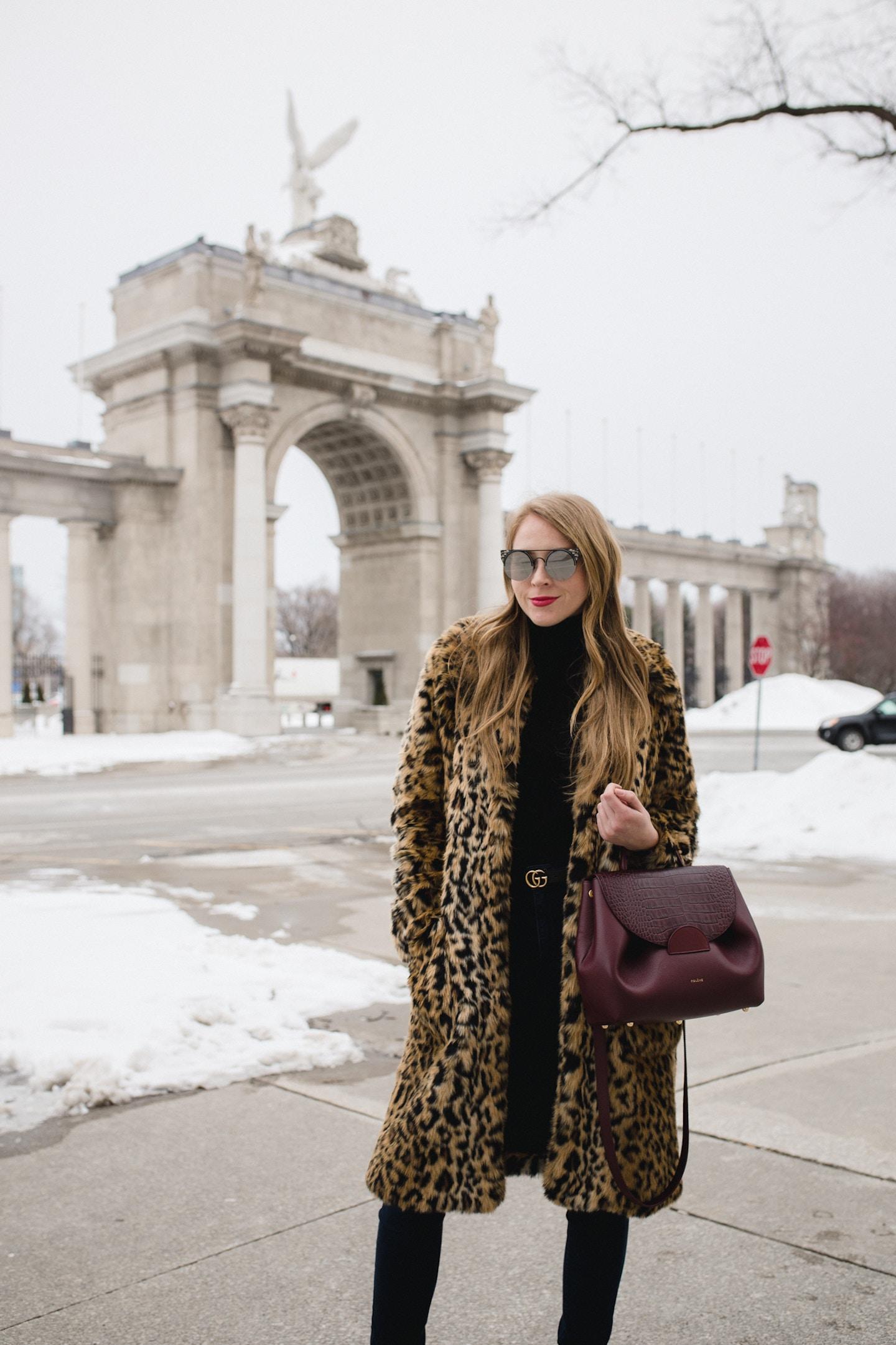 Leopard Coat and Gucci Belt