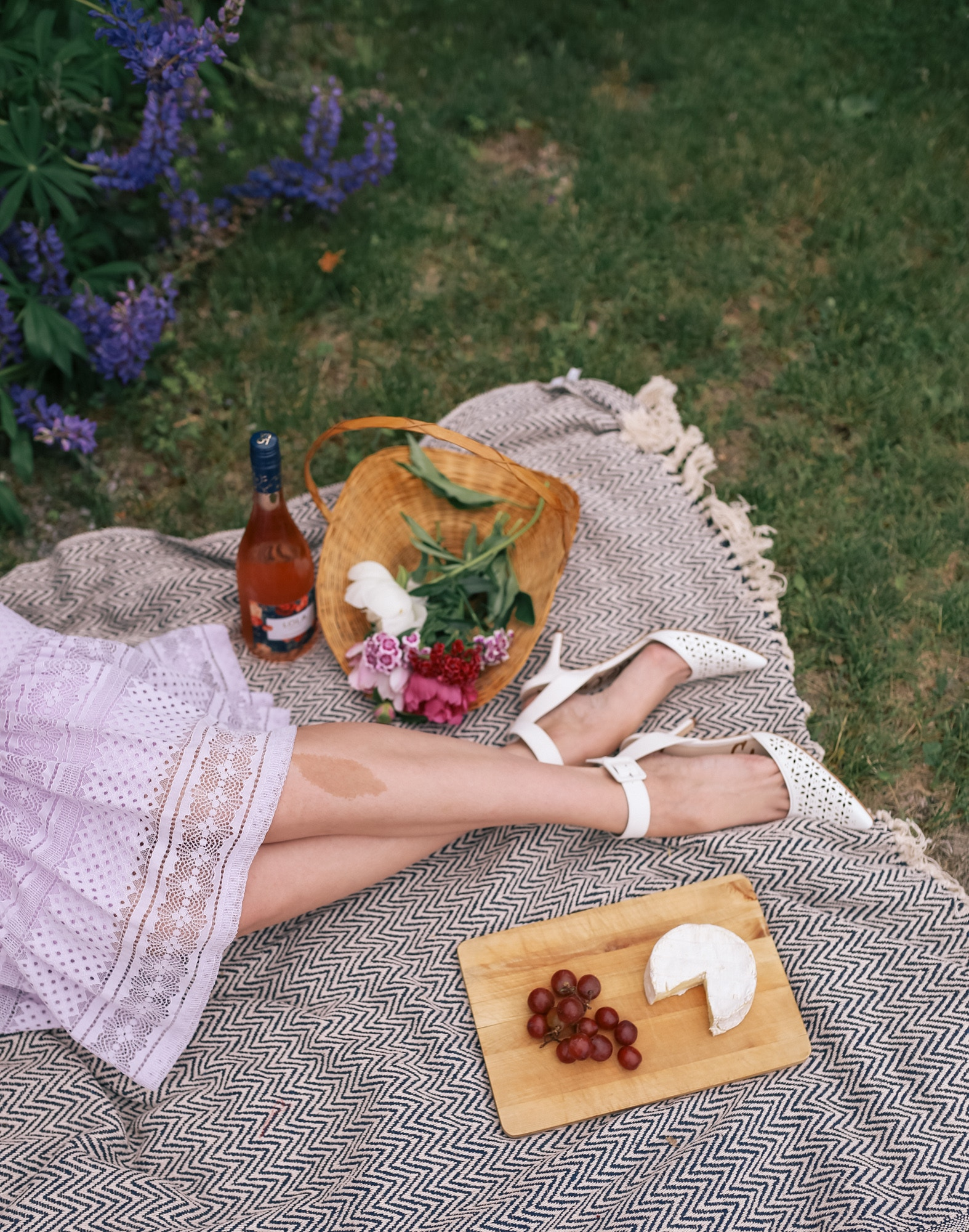 The Perfect Picnic setup: Pretty lace midi dress from Rachel Parcell at Nordstrom, Sam Edelman laser cut heels, brie, grapes and rose!