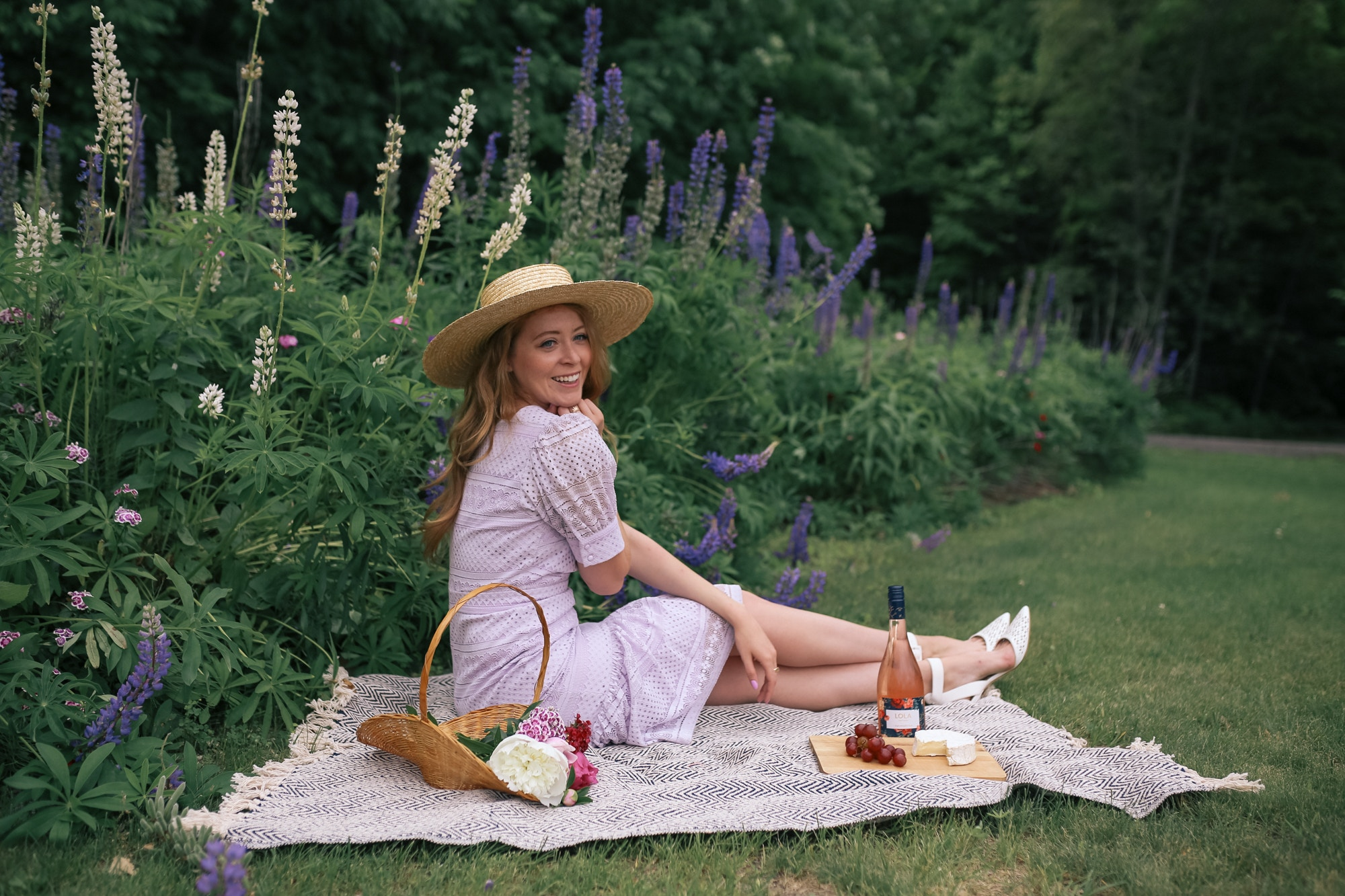 A picnic would never be complete without rose, a pretty lace dress and some cheese! Check out my Rachel Parcell Dress Review - Purple Hush Square Neck Lace Dress for more!