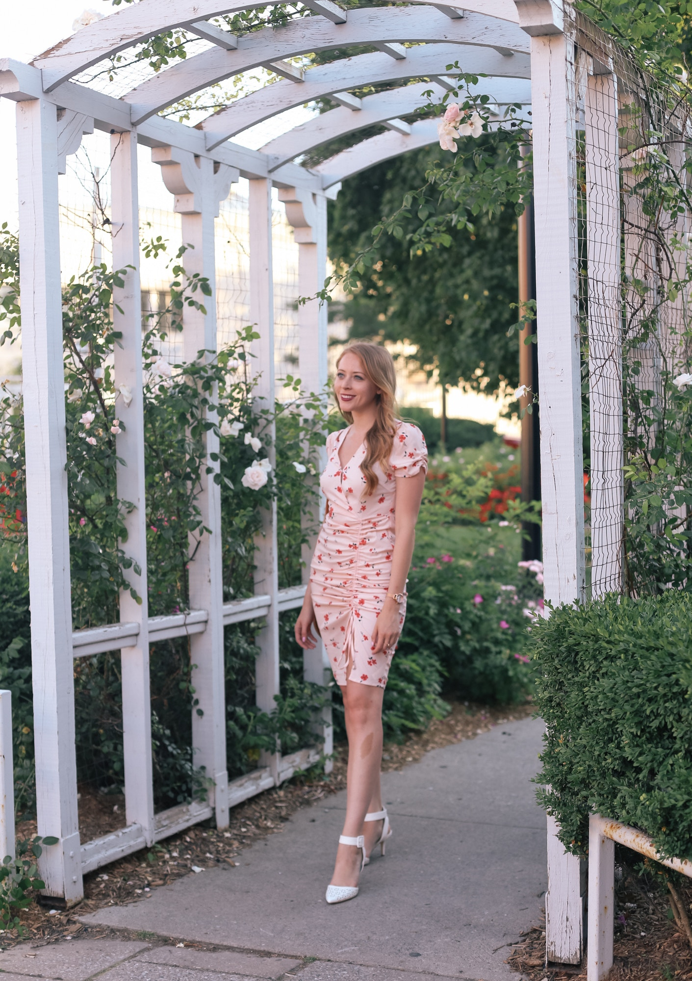 J.O.A. Cinch Front Dress : a dainty rose print dress for under $100.