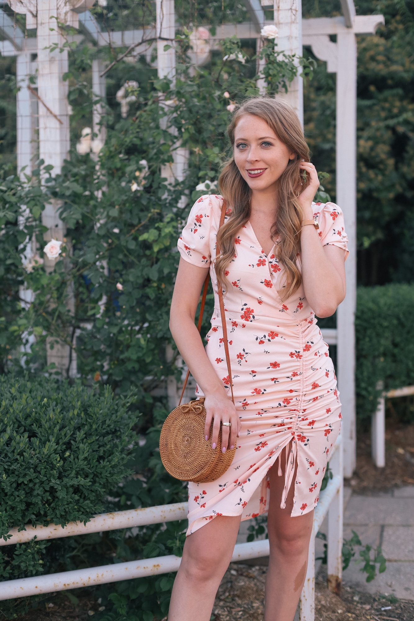 J.O.A. Cinch Front Dress - this chic rose print dress can transition from summer to fall with the right accessories.