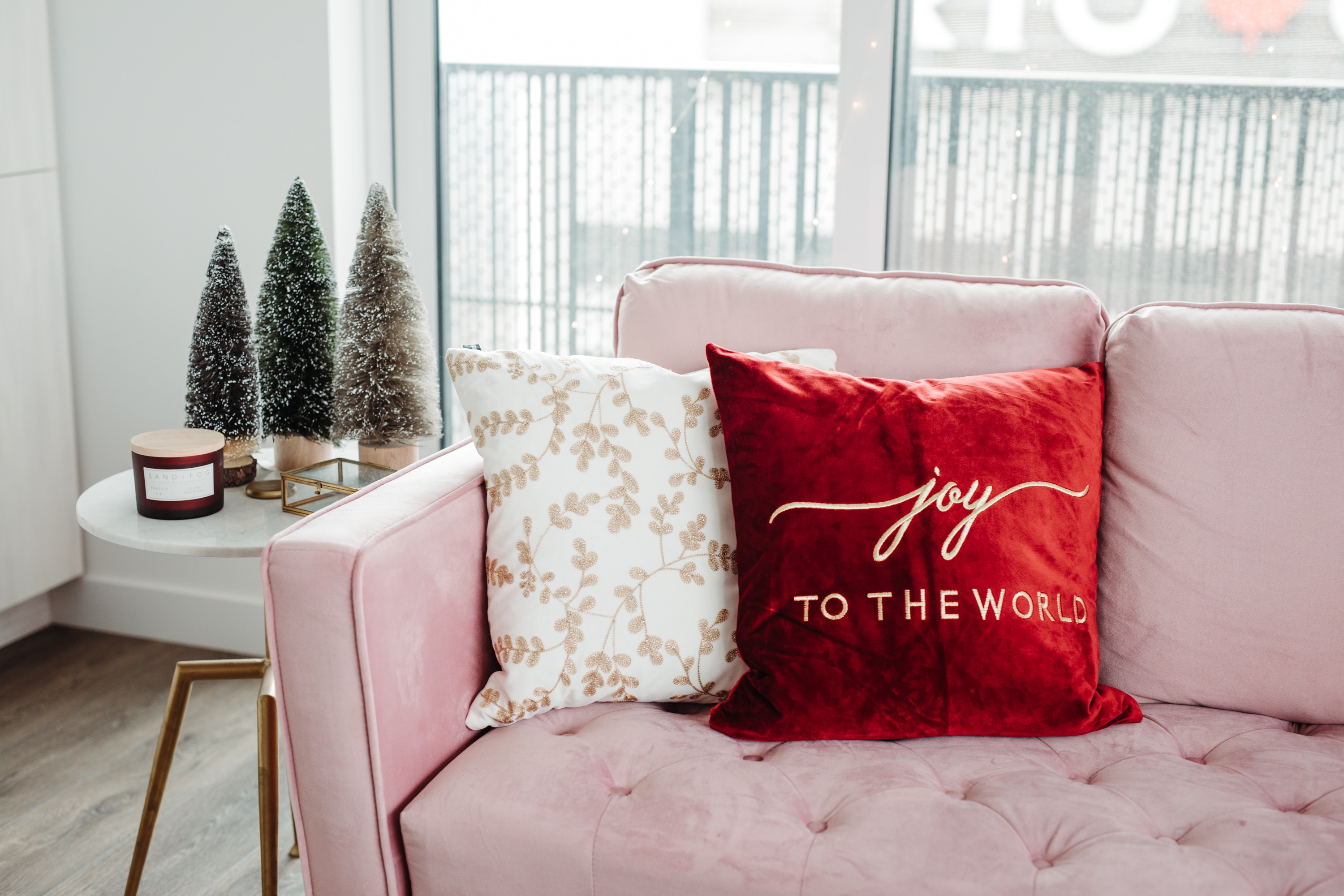 Joy to the World pillow, white and gold embroidered couch cushion