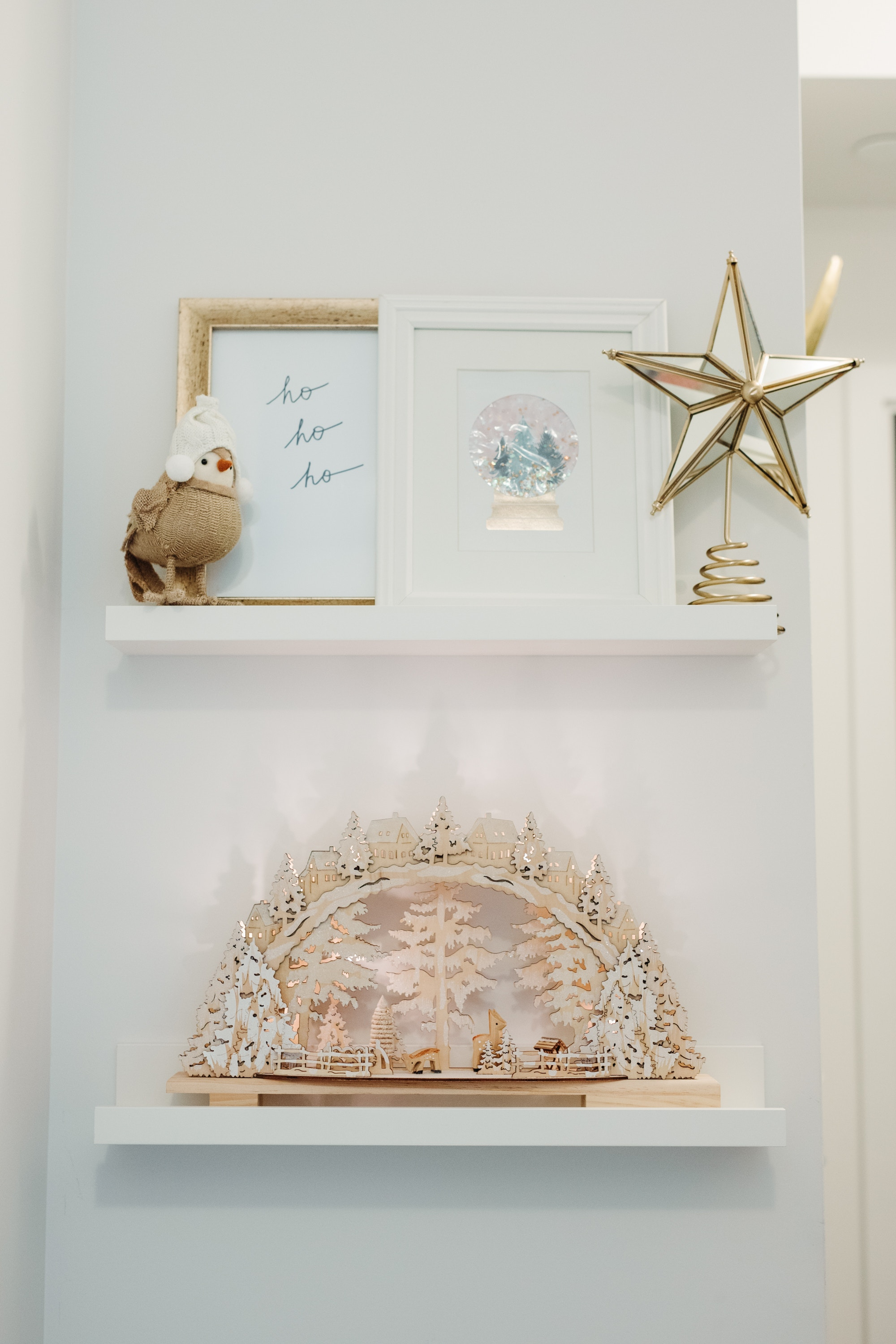 Redecorate your picture ledges with festive Christmas accessories, including a show-stopping wood winterland scene.