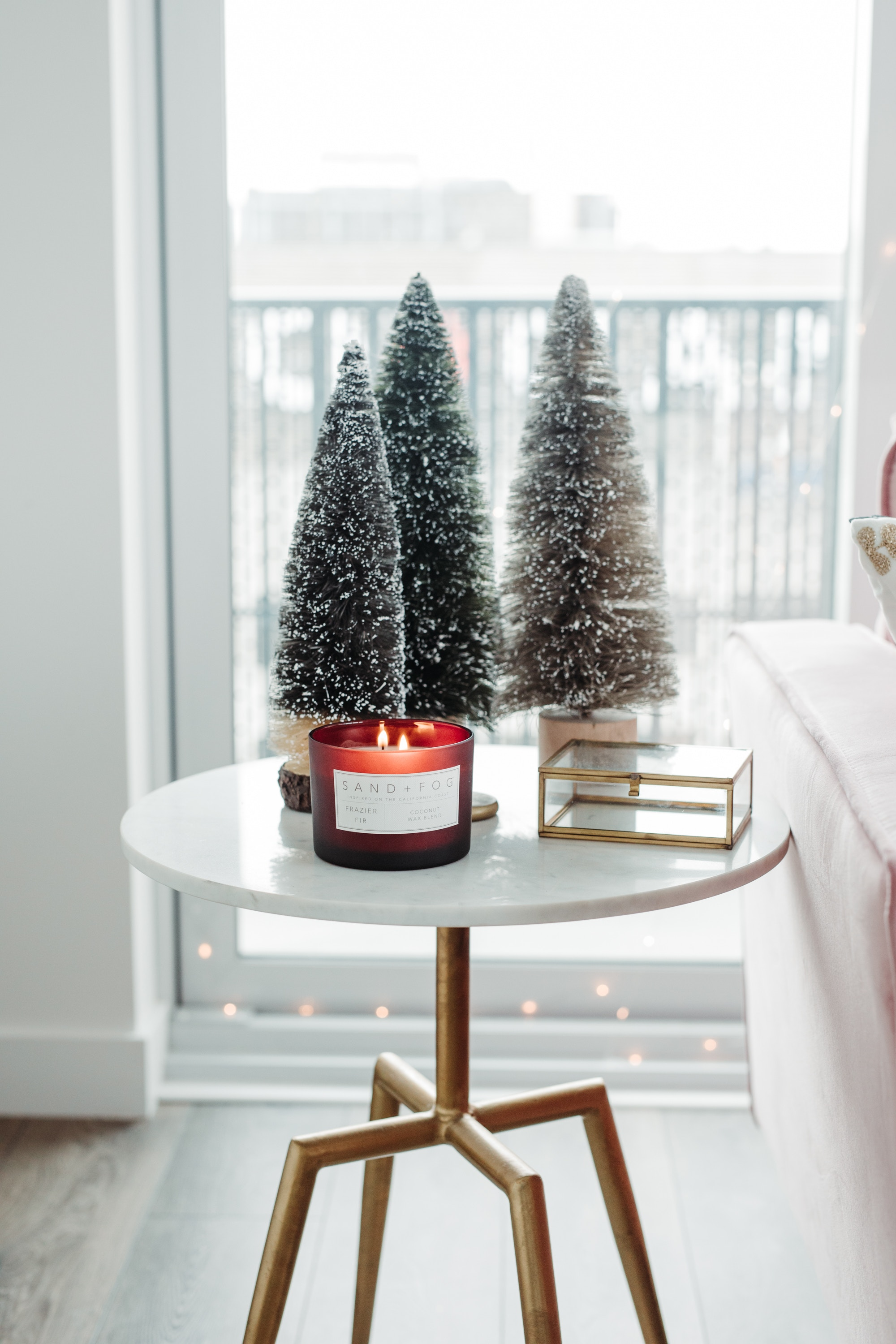 Bottlebrush trees and a Sand + Fog candle are a classic Christmas mainstay!