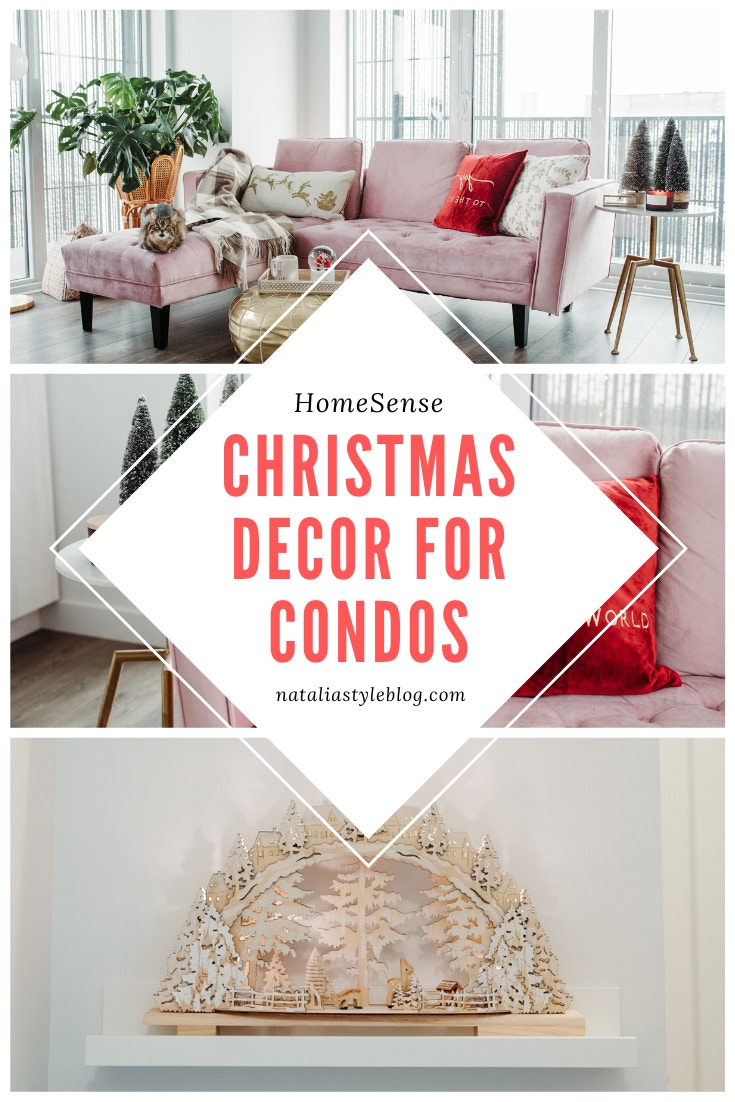 Condo Christmas Decor Ideas: miniature flocked tree from HomeSense Canada