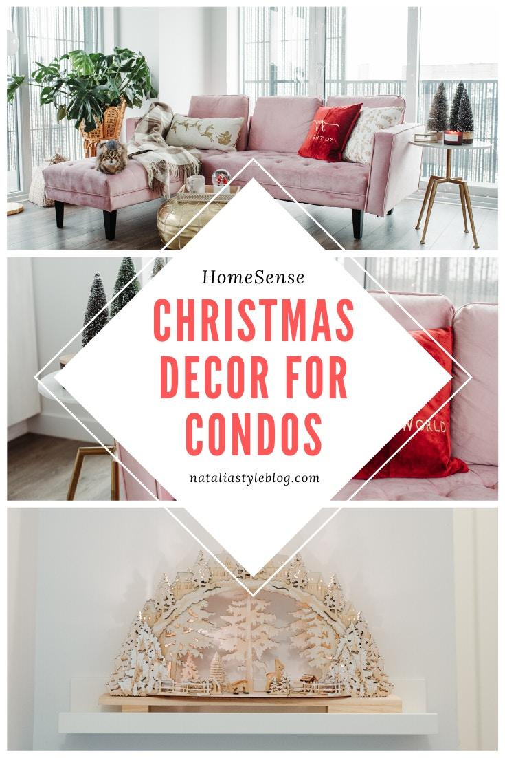 Condo Christmas Decor Ideas: miniature flocked tree from HomeSense Canada