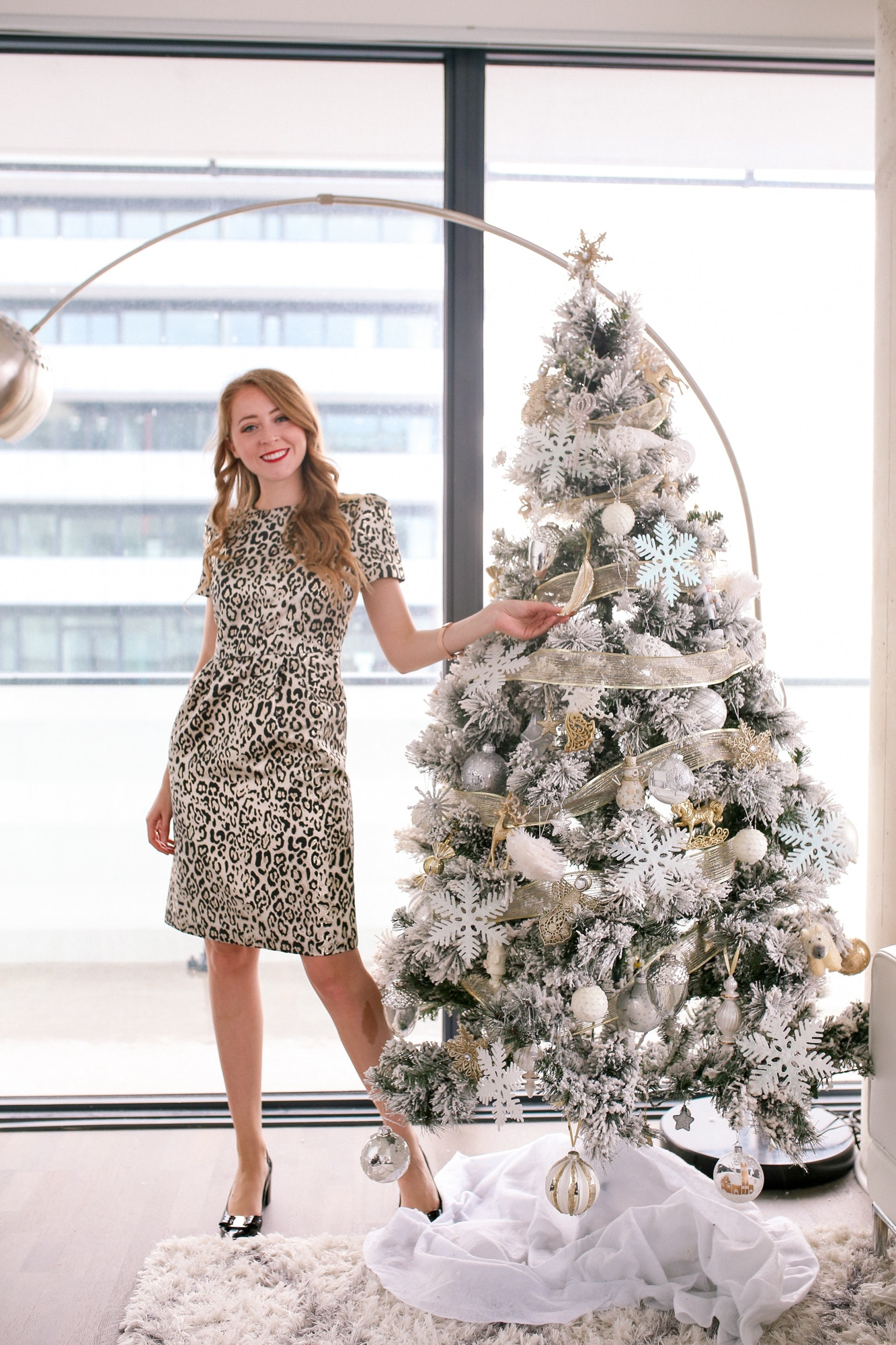This chic Metallic leopard print dress from the Rachel Parcell Holiday collection at Nordstrom is so easy to dress up with pumps, sandals and a fun faux fur topper.