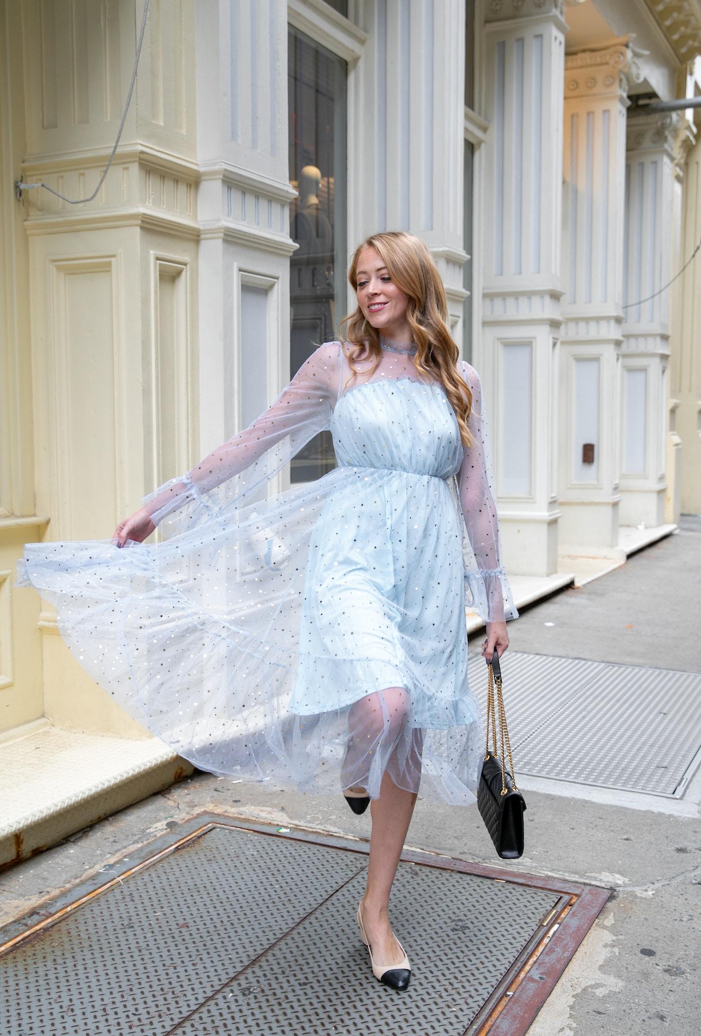 2020 New Year's Resolutions | SHEIN Tulle Star print dress, Sam Edelman Leah Cap Toe Pumps, Saint Laurent Medium Envelope Bag