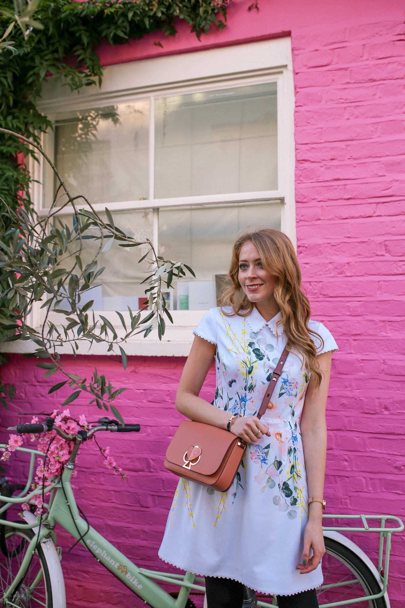 Kate Spade Nikola Bag, Ted Baker Dress in Notting Hill, London
