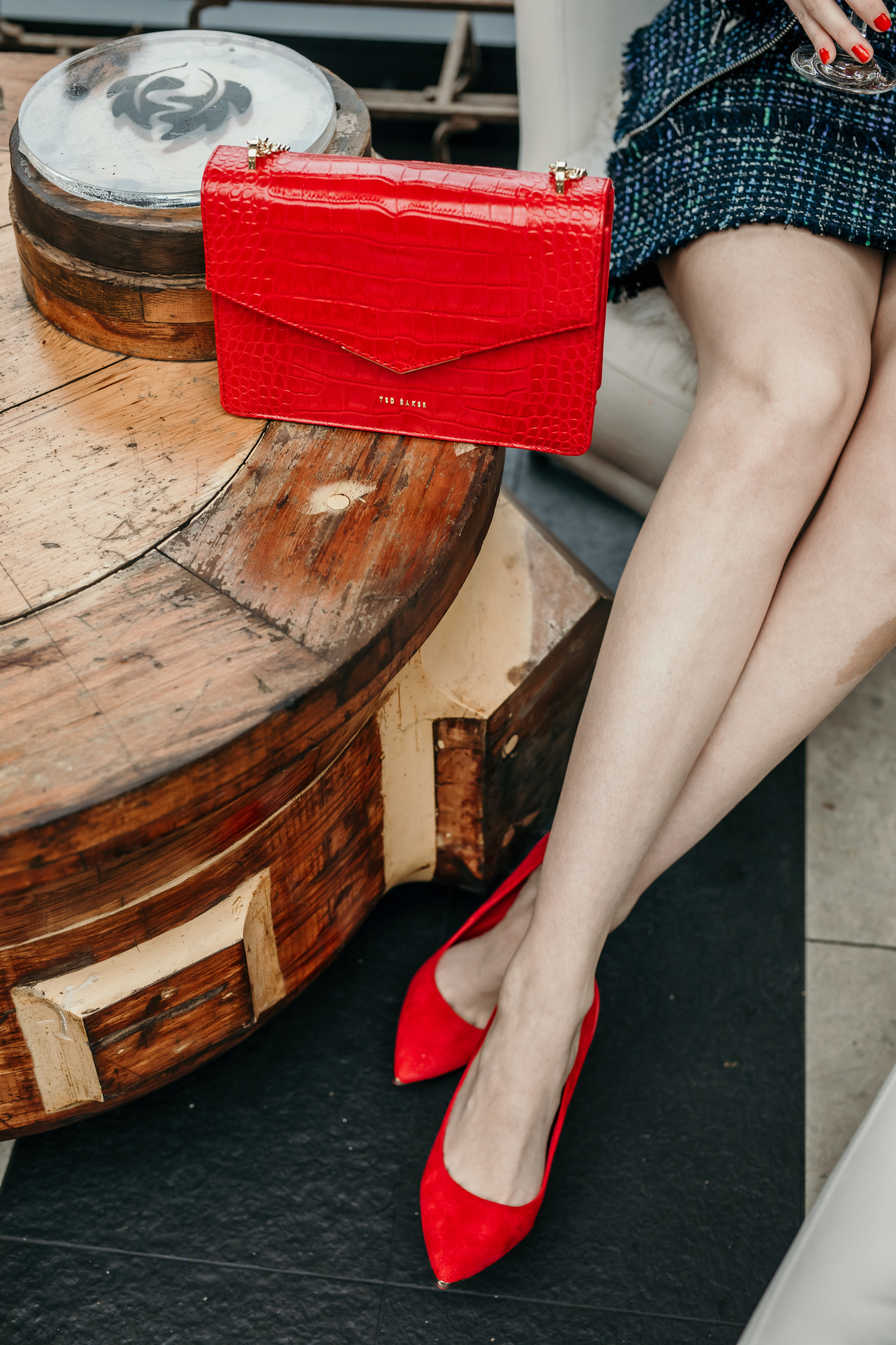 Ted Baker Red Croc Envelope Bag and Red Shoes
