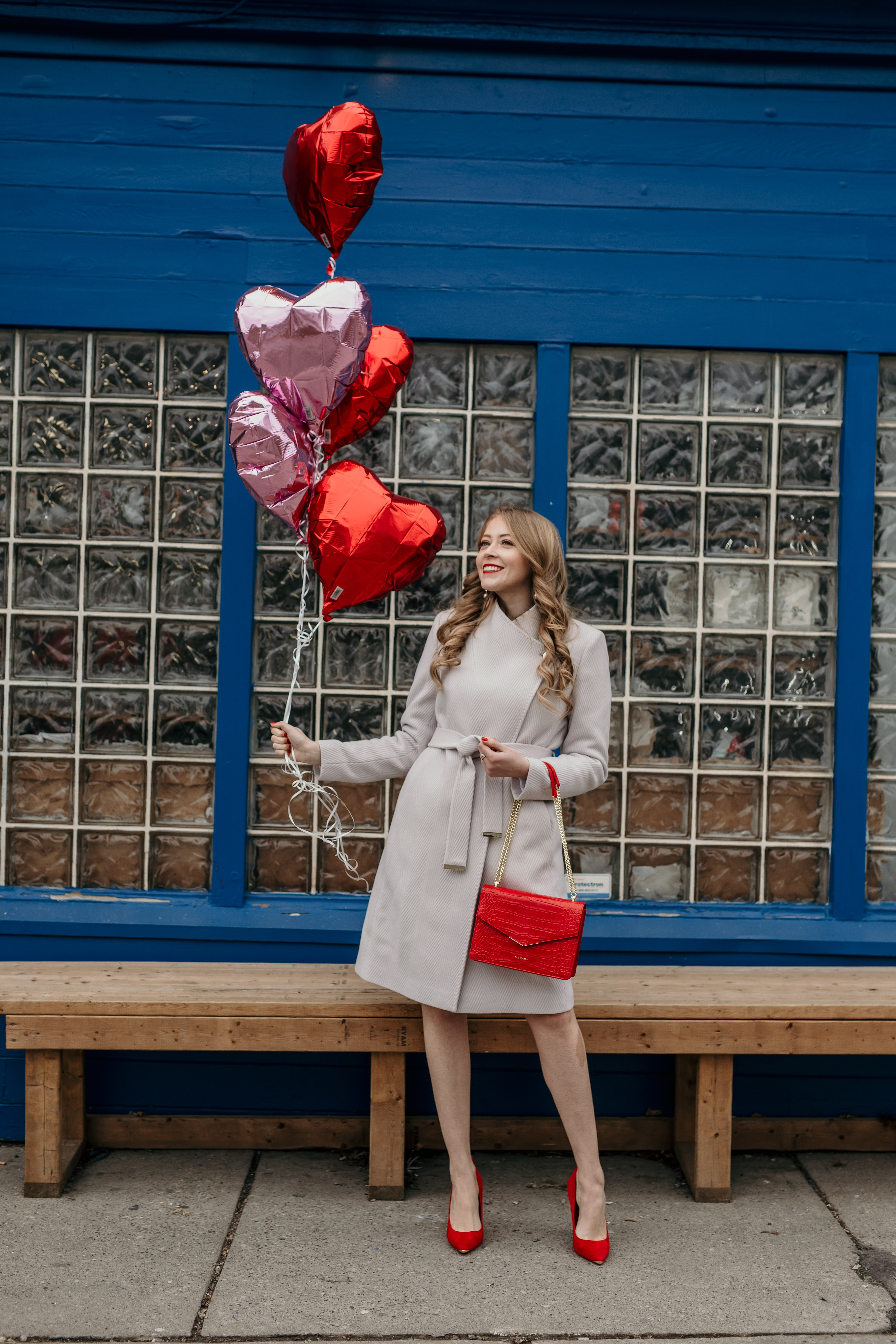 Ted Baker Mauve Wool Wrap Coat, Red Handbag and Courts shoes