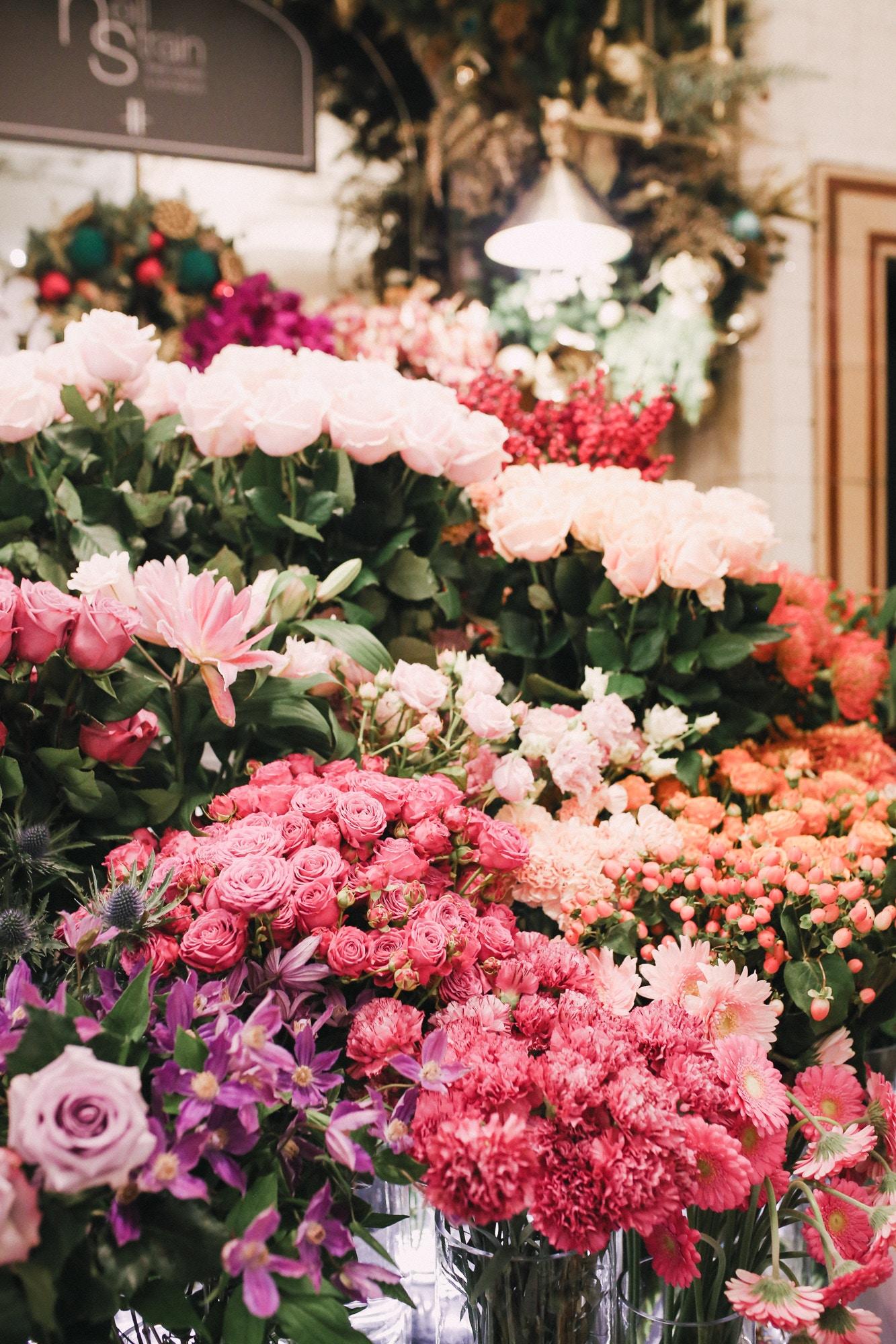 Florist at Harrod's in London