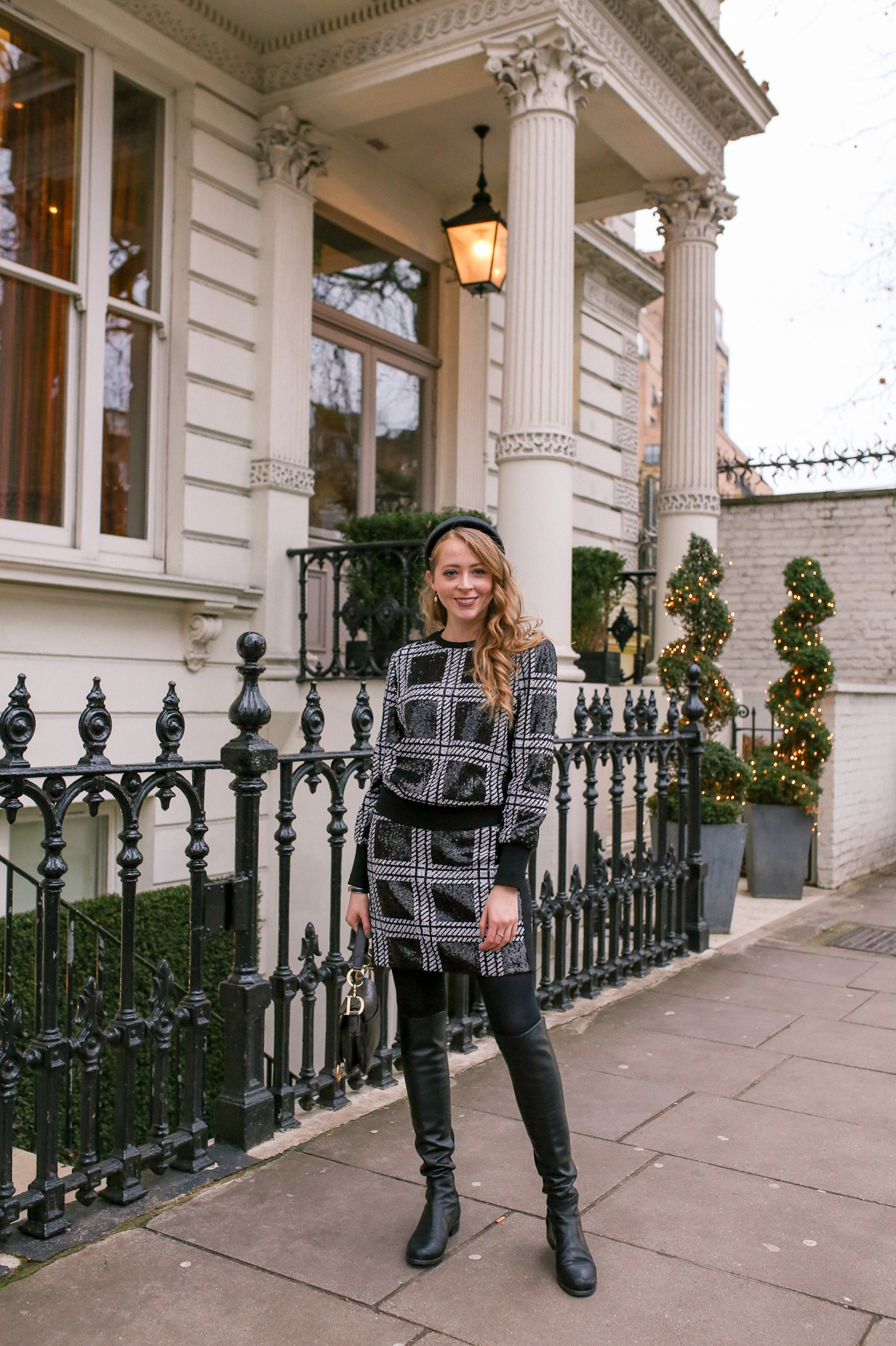 Hotel Xenia London Review: sharing a review of this 4-star boutique hotel in Kensington, as well as a chic Ted Baker sequin check plaid outfit.
