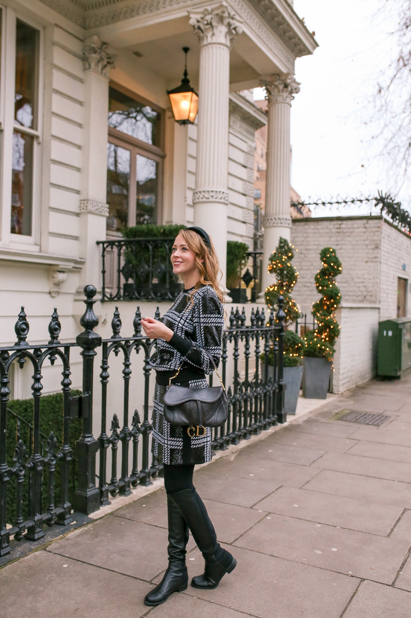 What I wore in London: Ted Baker Hoopss Sequin Check skirt & matching sequin sweatshirt, Stuart Weitzman 5050 Boots and a vintage Dior double Saddle bag