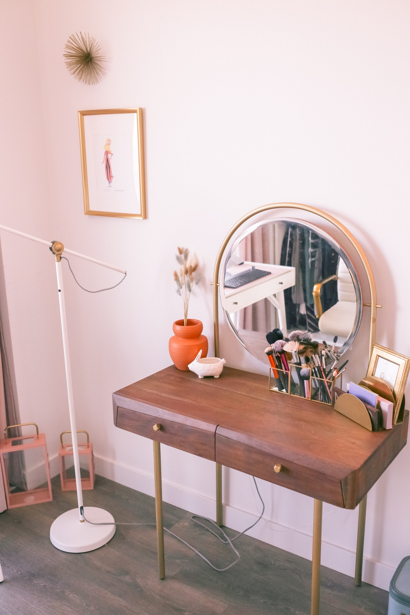 Mid-Century walnut vanity with gold hardware