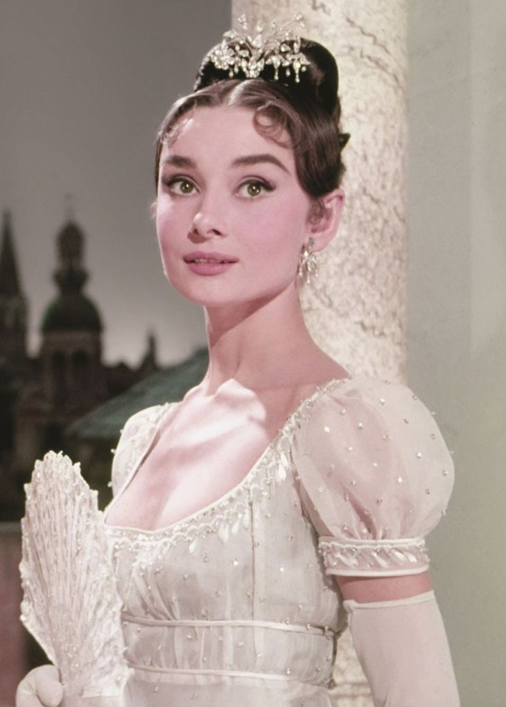 Audrey Hepburn War and Peace white gown reminds me of Princess Beatrice's wedding dress borrowed from the Queen