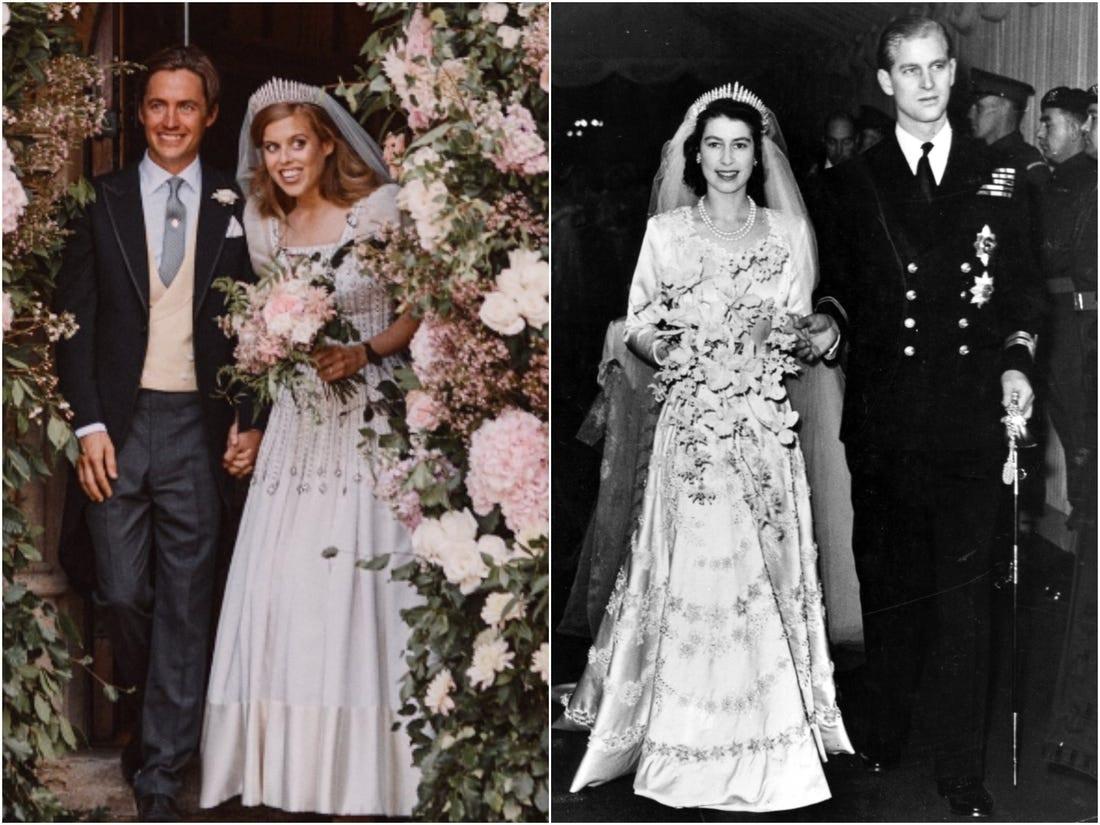 Princess Beatrice's Wedding Dress - wearing the Queen Mary Spray Diamond Tiara as Queen Elizabeth wore on her wedding day.