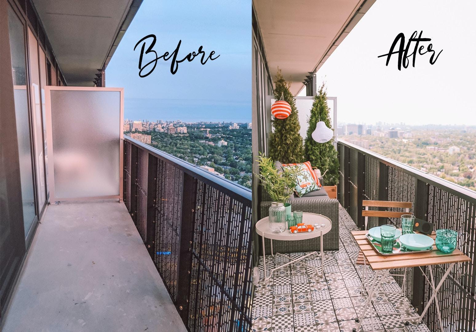 Before & After - Small Space Condo Balcony Makeover ft. IKEA Patio Furniture, including the Solleron series sofa, Mallsten decking, Krokholmen coffee table, Tarno bistro set and more!