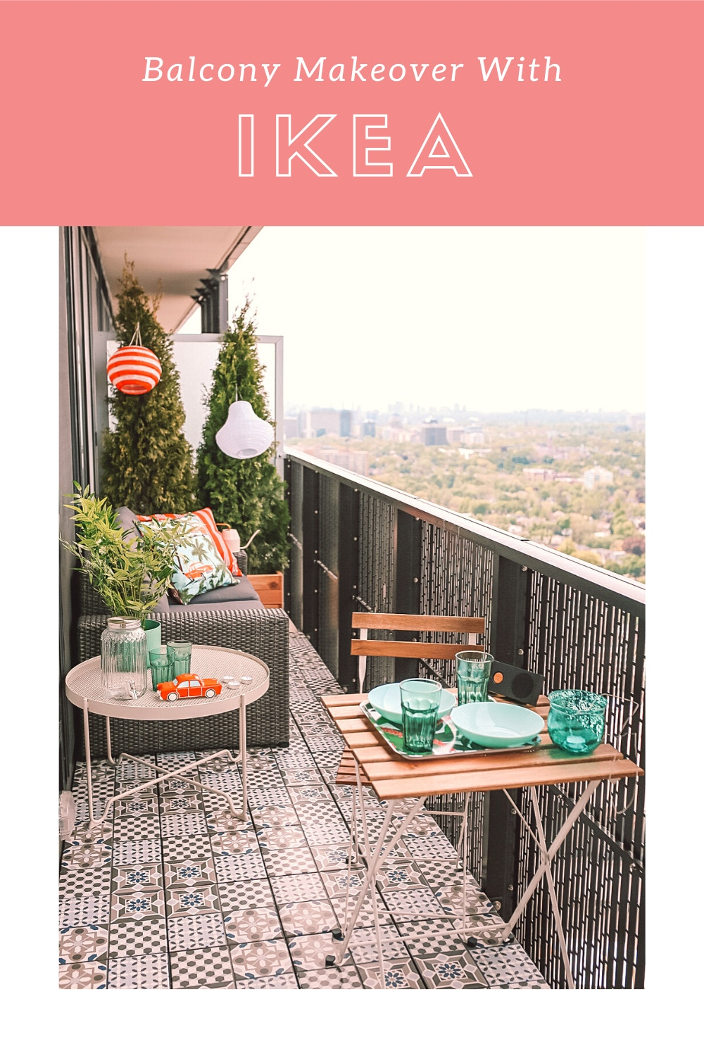 IKEA Patio Furniture Review & Makeover: check out how I gave my condo balcony a refresh with IKEA. I'm also sharing in-depth reviews of the IKEA Solleron series sofa, Mallsten tile decking from IKEA and all the cutest outdoor accessories to make your space an oasis in a concrete jungle.