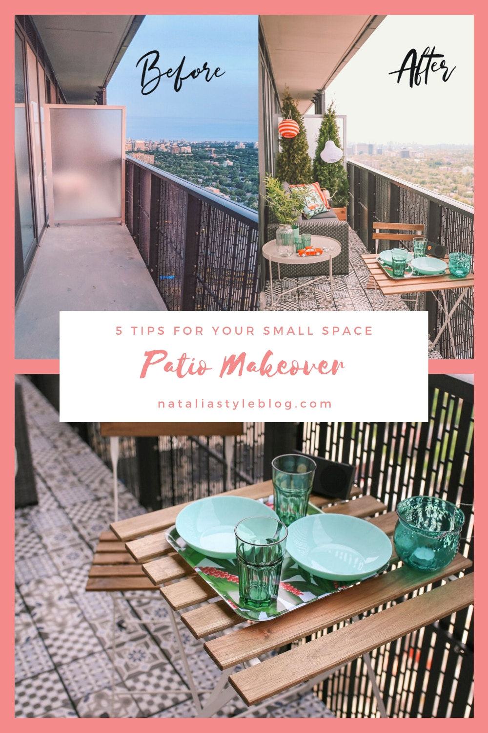 5 Tips for your Balcony Makeover: I'm sharing my design tips to help you transform your small outdoor space into a chic oasis in the sky! I'm also sharing in-depth reviews of the IKEA Solleron series outdoor sofas and the new tile Mallsten Decking.