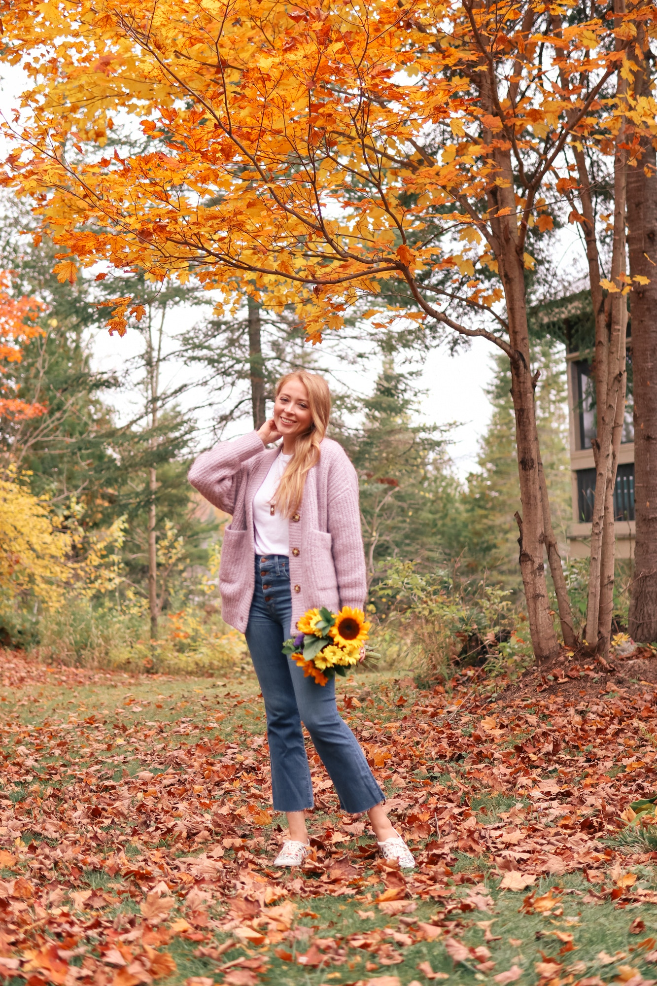 Purple oversized cardigan, Madewell Cali Demi-Boot Jeans, espadrilles fall outfit