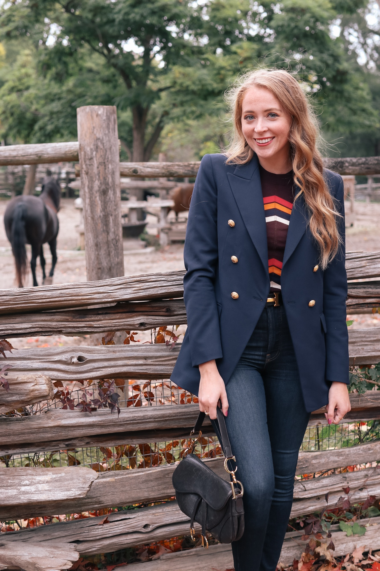 Zara Navy gold button blazer, And Other Stories striped sweater, Everland jeans and Christian Dior Saddle Bag